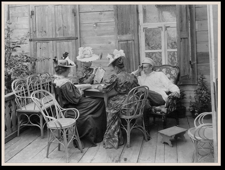 Сергей Рахманинов и сестры Скалон. Игнатово, 1897 год. Российский национальный музей музыки, Москва