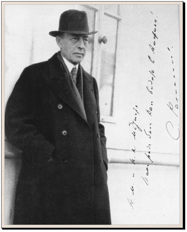 Сергей Рахманинов на палубе парохода. 1930-е. Российский национальный музей музыки, Москва