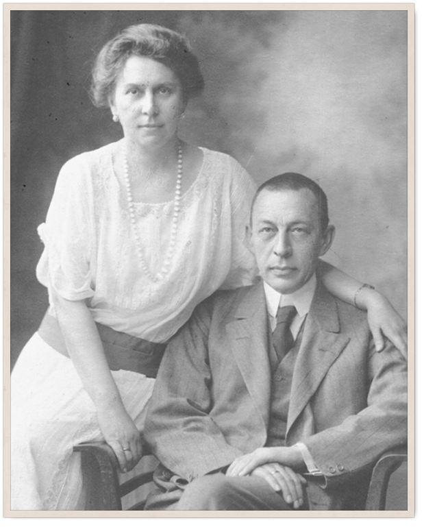 Сергей Рахманинов с женой. 1925 год. Российский национальный музей музыки, Москва