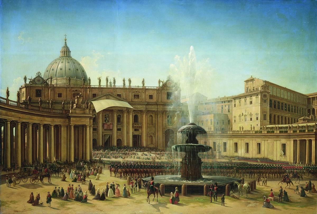 Italian Landscapes - Grigoriy Chernetsov, Piazza San Pietro in Rome, 1850, Russian museum, St. Petersburg, Russia.